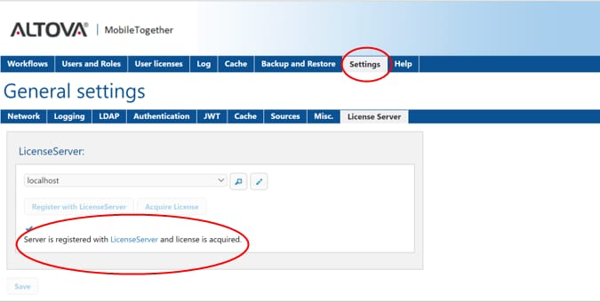 Verifying license assignment with Altova LicenseServer