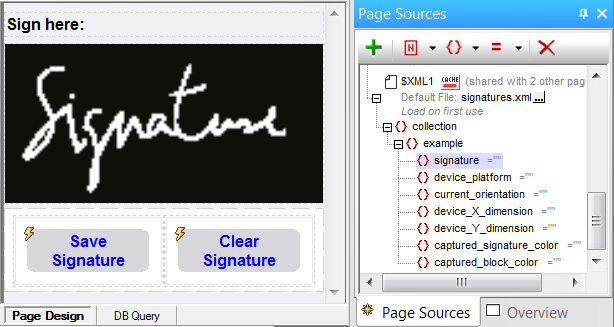 Capture Page Design for the Signatures demo mobile apps