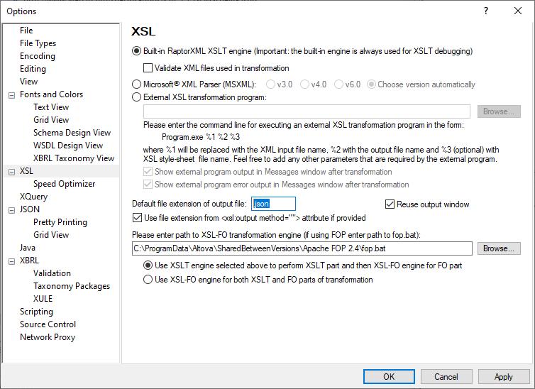 XMLSpy Options dialog for XSL processing