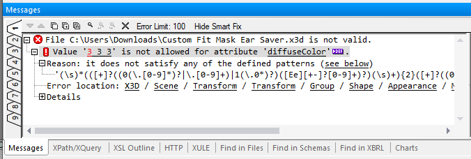 Validate .x3d files with detailed error explanation messages