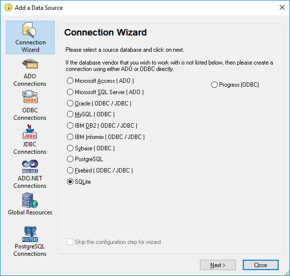 DatabaseSpy Connection Wizard assists exploring an unfamiliar database