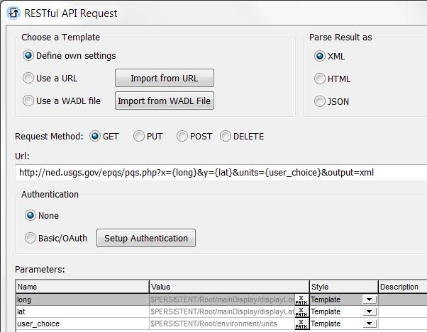 MobileTogether Designer RESTful API dialog