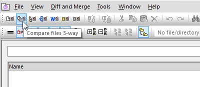 Toolbar icon for three-way file comparison in DiffDog