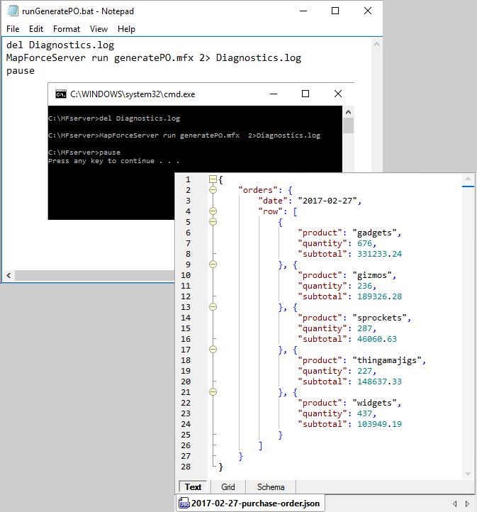 MapForce Server Use Case via a batch file