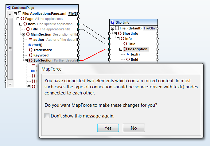 Mapping plus dialog