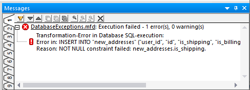 Messages window displays the first error during database exception handling
