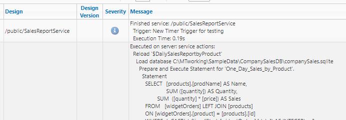 MobileTogether log for service test execution