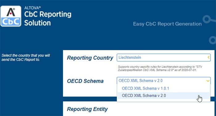 Create a report for the OECD CbC XML Schema v 2.0