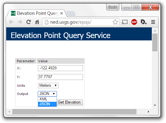 Input form for a single elevation point query