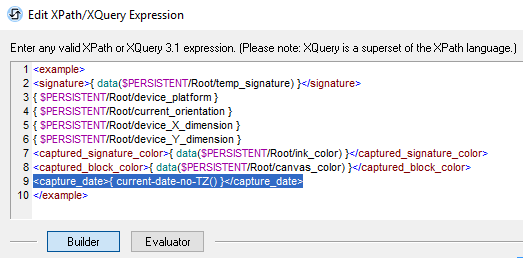 The MobileTogether XPath/XQuery Expression Editor lets you build XQuery constructors with color coding and entry helpers