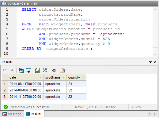 A SQL query that joins data from several tables without parameters