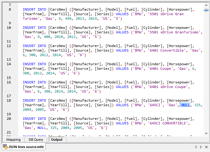 Generated SQL script for data mapping JSON lines to a database table