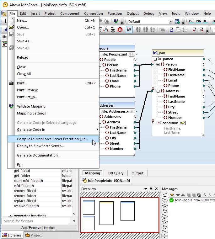 Saving a MapForce data mapping saved as an execution file for MapForce Server