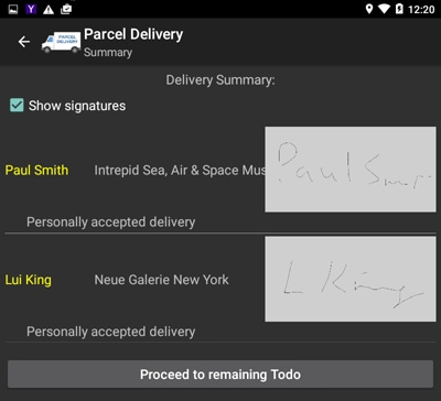 Signature verification in the Altova Parcel Delivery mobile app