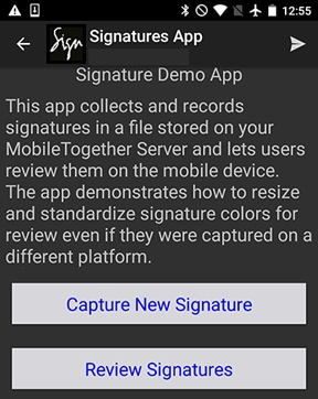 Opening screen of the Signatures cross-platform demo mobile app