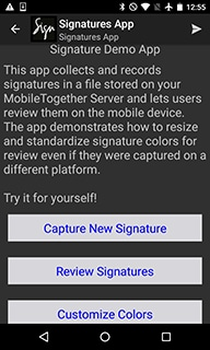 MobileTogether Signatures Demo app on an Android device