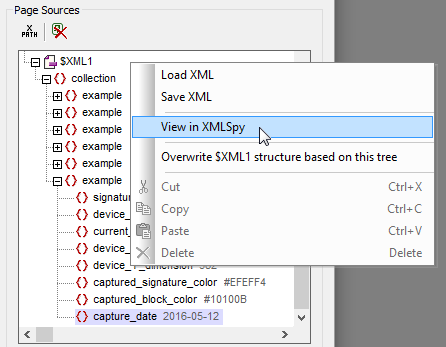 The MobileTogether Simulator lets you open the page source in XMLSpy to examine in detail