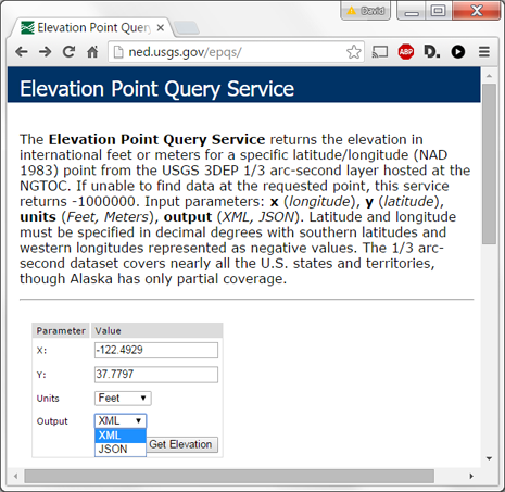 USGS Point Query Service