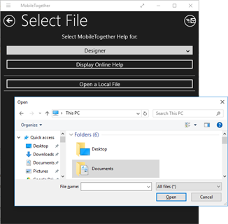 Open file user dialog in a Windows 10 app