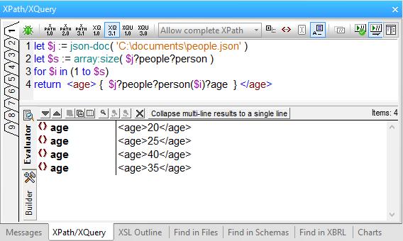 XMLSpy XQuery Evaluator window