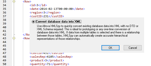 XMLSpy can directly convert database tables to XML