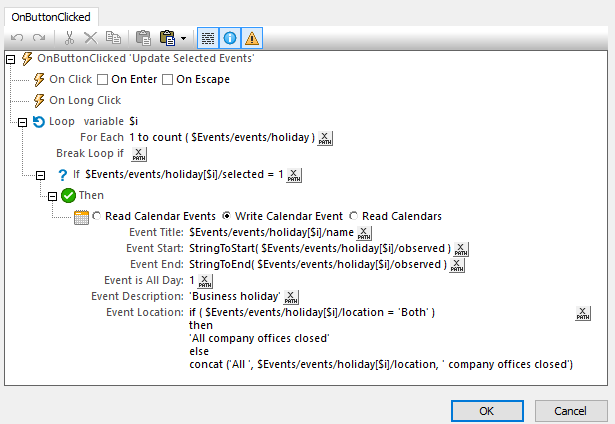 Actions example for mobile app calendar integration