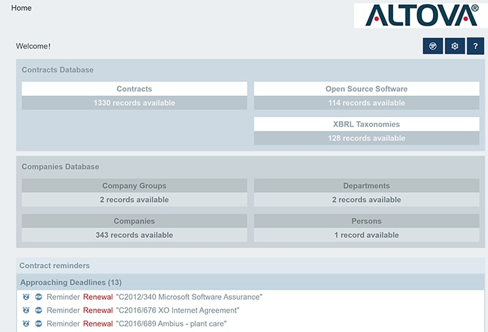 Contract management software from Altova