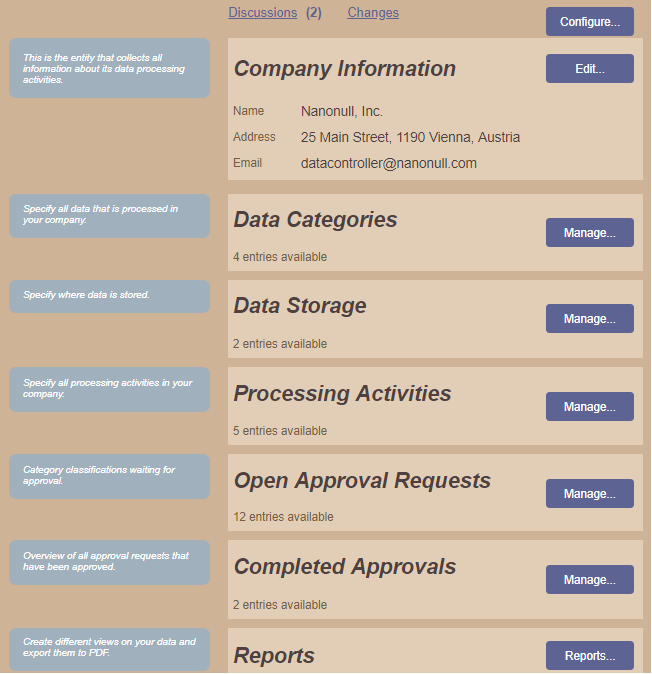 Altova GDPR Compliance Database for tracking GDPR activities and applications