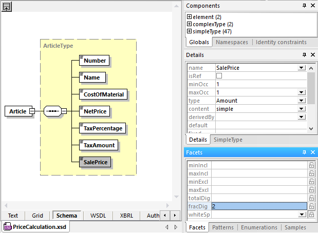 Altova Graphical XML Schema view of a target for mapping structured data mapping
