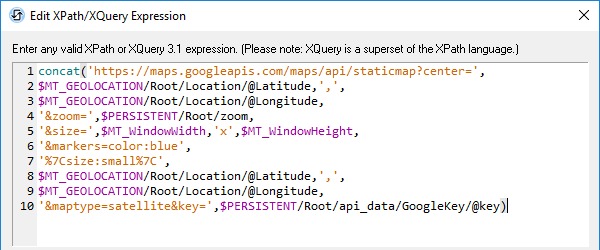 Building a URL for an API in the MobileTogether XPath/XQuery expression editor