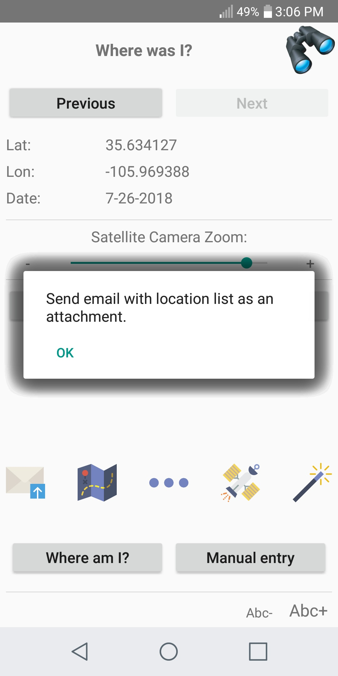 A pop-up Help message as seen in the Android version of a MobileTogether app