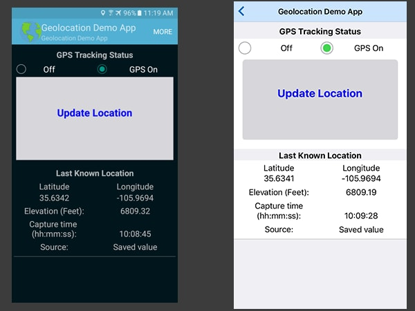 Cross-platform GPS app created with MobileTogether