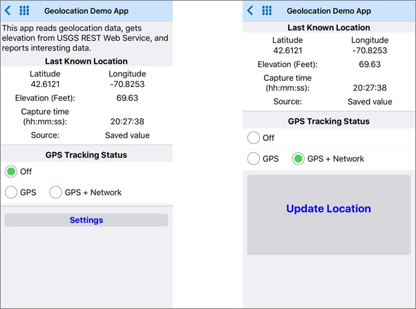 Two views of the GPS demo mobile app