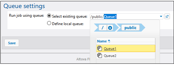 Assign a job to a queue in the server cluster