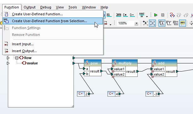 Building a user function from components in an existing mapping