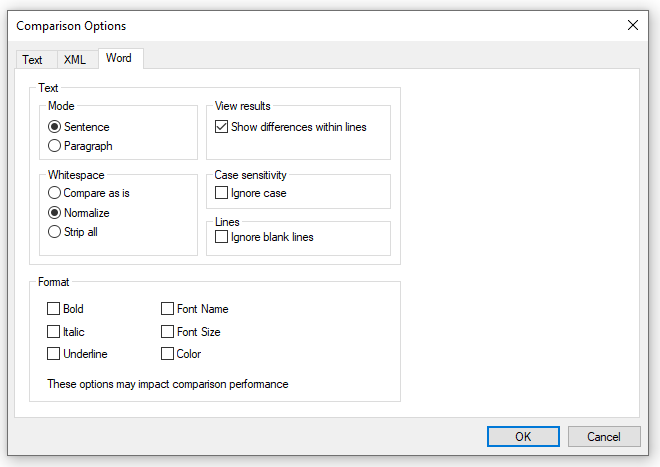 Word document comparison options in DiffDog