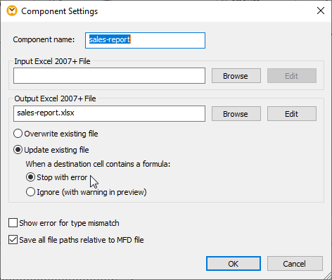 Component settings to specify update options