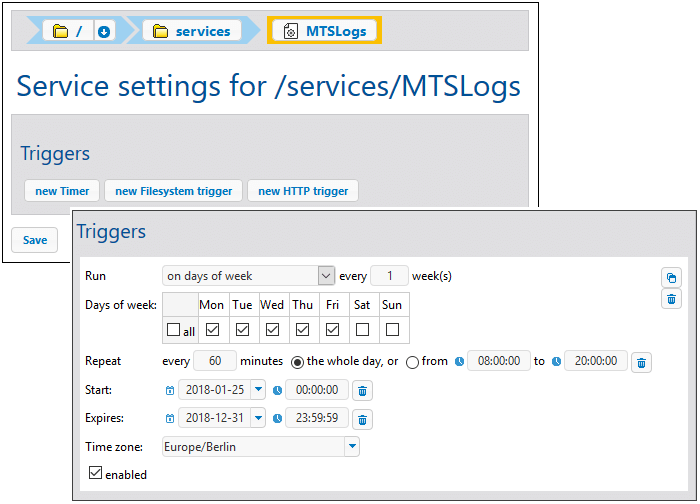 Time and event triggers for Services