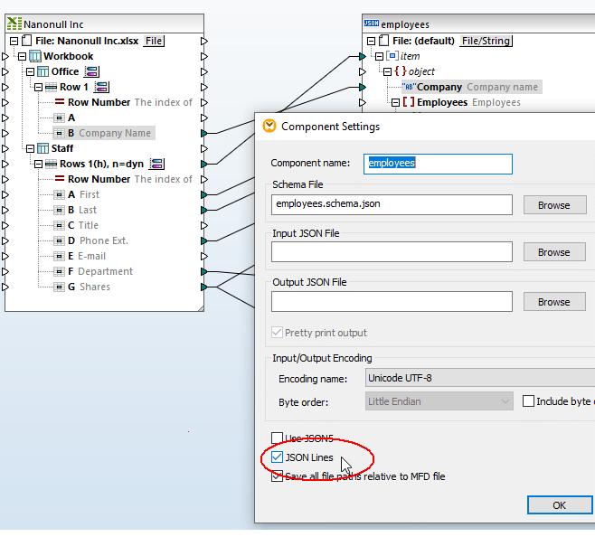 Convert JSON Lines using MapForce