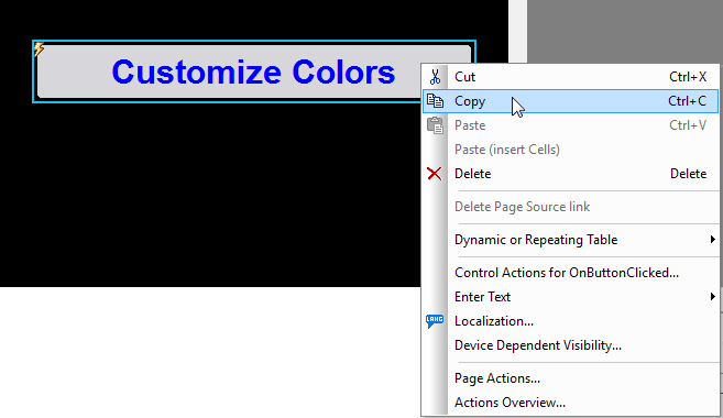 Copying a button in the MobileTogether Designer