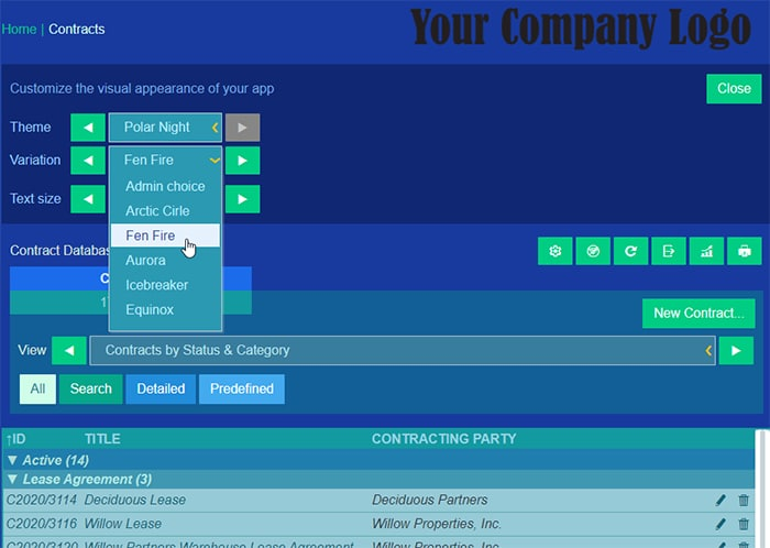Customize ContractManager appearance