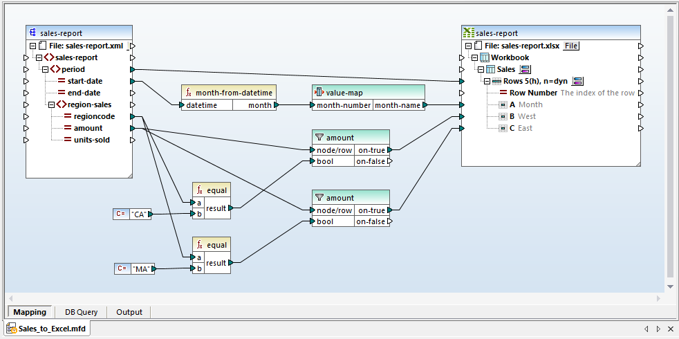 An example Excel data mapping from the MapForce Samples folder