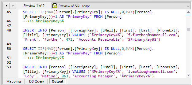 Data mapping SQL script preview