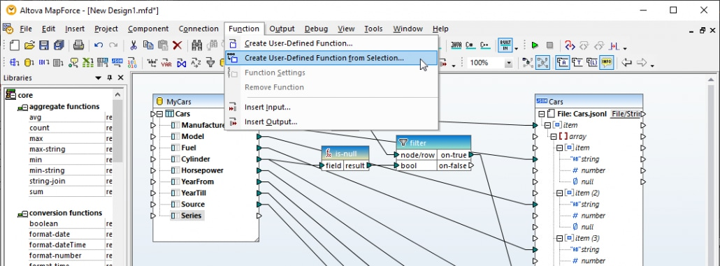 Creating a user function to process null entries