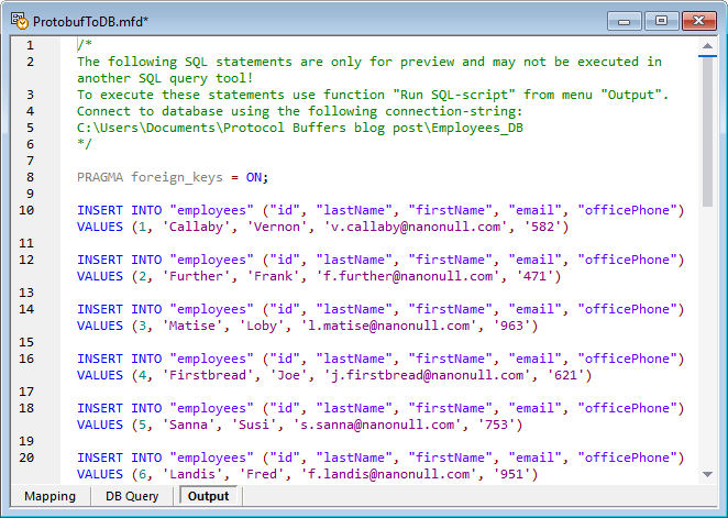 A SQL script as the output of a protobuf to database mapping.