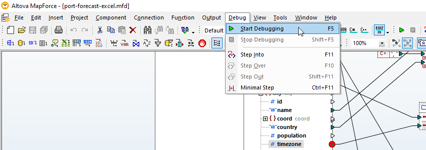 Validating data transformation with a debugger breakpoint
