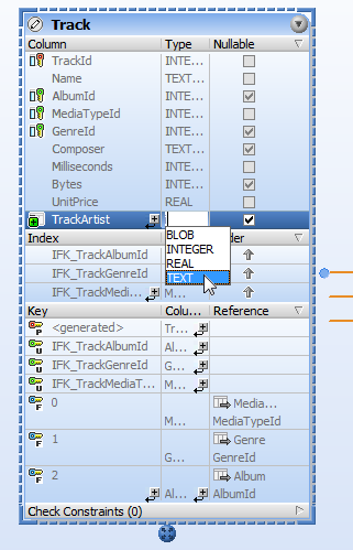 Selecting a datatype for the new column in DatabaseSpy