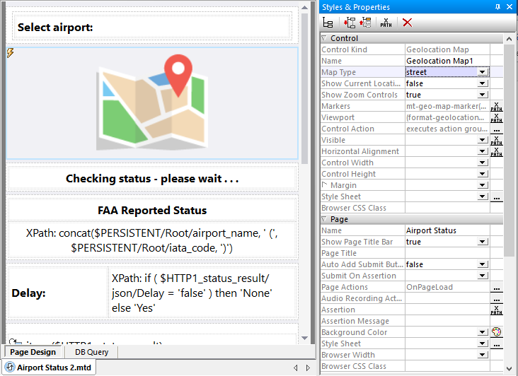 Integrate maps into mobile apps using the MobileTogether Designer visual tool
