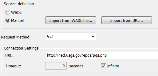Portion of the MapForce REST Web Services dialog to specify the service URL