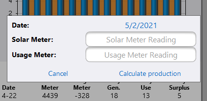 The data entry sub-page to allow the user to enter new daily readings.